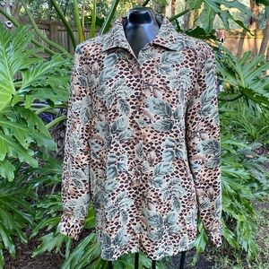 Vintage Leopard and Leaves Silk Button Up Shirt
